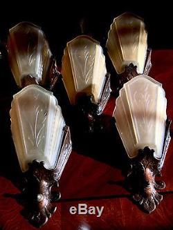 10 Virden Art Deco Antique Satin Amber Glass Slip Shade Wall Sconces Circa 1930