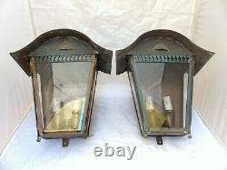15 Gorgeous Vintage French Wall Light Sconces Lantern 20TH Brass Green Patina