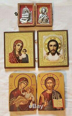 15pc Lot Vtg Religious Gold Wall Decor Frames Candle Sconces Shelves Orthodox