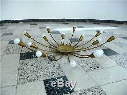16 Arm Sunburst Brass CHANDELIER Wall Lamp FLUSH MOUNT SCONCE Leuchter 1950s