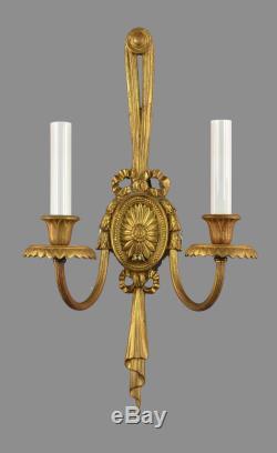 18 Regency Brass Wall Sconces c1950 Vintage Antique Restored Gold Lights