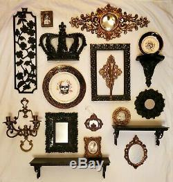 18pc Lot Gothic Black Gold Skull Wall Decor Sconces Mirrors Plaques Shelves