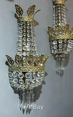 1930 Pair Of French Empire Style Wall Light Sconce In Gilded Brass And Crystal