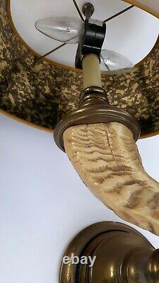 1970s Chapman Faux Ram's Horn & Bronze Wall Lamps Sconces a Pair
