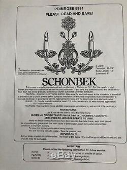 1990s Schonbek Swarovski Crystal Primrose 5861 Wall Sconces Pair Set of 2