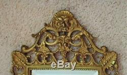 19th c. Antique Victorian Gilt Bronze Beveled Mirror Candle Wall Sconce Gothic
