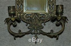 19th c. Victorian Bronze Wall Beveled Mirror Sconce with Dolphins