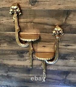 1 Pair Of Vintage Style Gold Carved Wall Sconces Shelves With Bows And Tassels