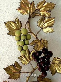 1 Tuscany Italian Gilt Tole Grape Cluster Sconce Lamp Wall Light