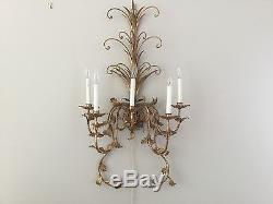 1 Vintage French Gilt Tole Crystal Wall Sconces 39 5 light Wall Chandelier HUGE