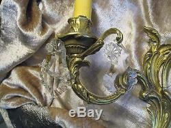 1antique French Bronze 2 Lighted Prisms Bling Bling Wall Sconce #125
