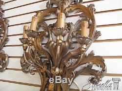 21262 Pair Venetian Silver & Gold Decorated Lighted Wall Sconces New