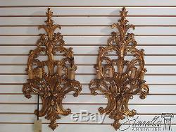 21263 Pair Venetian Gold Decorated Wood Carved Lighted Wall Sconces New