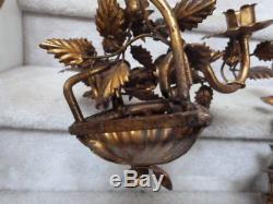 2 ANTIQUE VINTAGE GOLD Hollywood Regency Metal Candle Wall Sconces Roses 15T