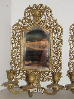 2 Antique Bradley & Hubbard Bacchus Beveled Mirror Wall Sconce Three Candle Arms