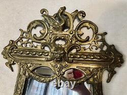 2 Antique Gold Gilt Brass Figural Bacchus 3 Light Candle Wall Sconce Lamps
