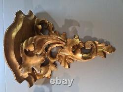 2 Antique Rococo Italian Gold Gilt Florentine Wall Shelf Sconces 7 x 7