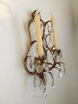 2 Antique Victorian Crystal Prisms Girandole Wall Candle Sconces Italy Gilded