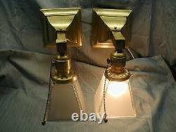 2 Antique Vtg Mission Arts & Crafts Deco Light Fixture Wall Sconce Square shade