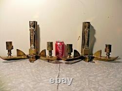2 Art Deco Brass Wall Sconces