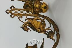 2 FRENCH DORE BRONZE WALL LIGHT CANDELABRA sconces NAPOLEON III