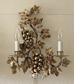 2 Italian Gilt Tole Grape Cluster Sconces Hollywood Regency Lamp Wall Lights