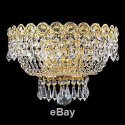 2-Lights Gold Finish D12 x H8 Traditional Empire Crystal Wall Sconce fixture