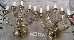 2 Rare Antique Brass 5-Light Wall Mount Sconces from a Tomb Vintage Candle