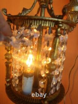 2 Spanish Antique Gilt Brass & Glass Crystals Wall Lanterns Sconces
