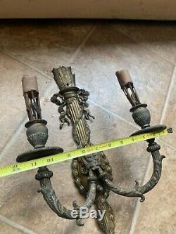 2 Vintage / Antique Victorian Cast Iron Gilded Wall Mount Sconce Light Fixtures