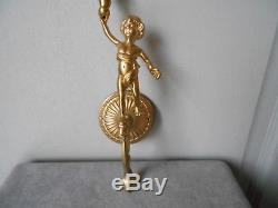 2 Vintage French BRONZE WALL CANDLE SCONCES / Putto, Putti