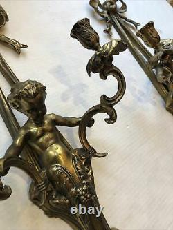 2 Vintage Gold Metal Brass Candle Holders Pair Wall Double Sconces Cherubs 22
