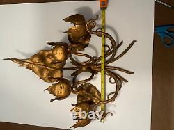(2) Vintage Italian Gold Gilt Candle Holders Wall Sconces