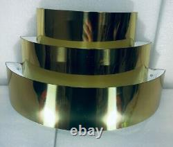 2 Vintage MCM Art Deco Tiered Gold Tone WALL SCONCES LIGHTOLIER Style Lights