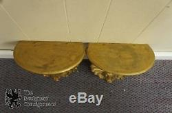 2 Vtg Hollywood Regency Scallop Shell Wall Hanging Shelves Sconces Gold Painted