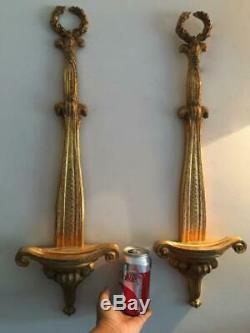 2 Vtg Italian Florentine Gold Gilt Wood Wall Display Easel Plate Holder Sconce