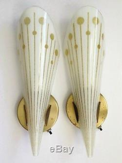 2 vtg 1950s Lightolier wall sconces brass with 15 white & gold fused glass shades