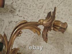30918EC/19EC Set 4 French Brass or Bronze 5 Arm Lighted Candelabra Wall Sconces