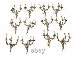 30920EC-24EC Vintage 6 Pair French Bronze 3 Arm Wall Sconces