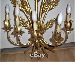 33.5 Vintage 5 Arm Light Gold Gilt Metal Tole Toleware Wall Sconce Italy Tag