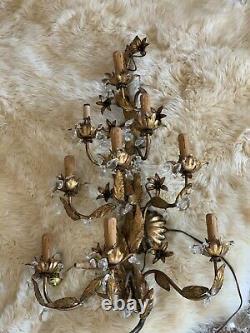 36Italian Gilt Tole Grape Cluster Sconces Hollywood Regency Lamp Wall Light