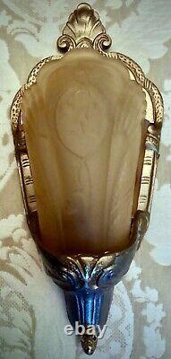 3 Antique Cast Iron Slip Shade Wall Sconce Light Fixtures Art Deco Lightolier