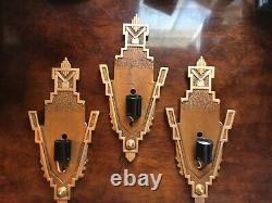 3 Art Deco Markel Antique Etched Yellow Slip Shade Glass Wall Sconces Fixture