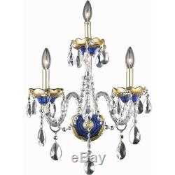 3 Light Blue Gold Venetian Asfour Crystal Wall Sconce Living Dining Room Bedroom