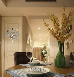 3-Light Hallway Wall Sconce Clear Crystal Gold Finish (W15xH16x7)