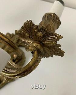 3 Vintage Antique Gilt Bronze Cast Iron Rococo Wall Sconce Light Fixtures Spain