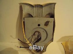 3 Vintage Art Deco Slip Shade Cast Metal Wall Sconces Light Chandelier Fixtures