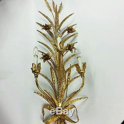 40 Hollywood Regency Wall Sconce Light Italian Gilt Vintage Gold Metal Tole