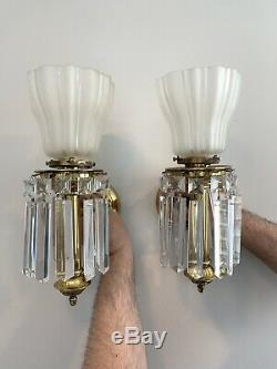 4 2 PAIR Antique 1910 Brass Crystal Wall Sconce Vintage Lighting Lustre