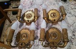 4 Edwardian Art Deco Gothic Bronze Brass Light Wall Sconces Fixture 1905 Gold Pt